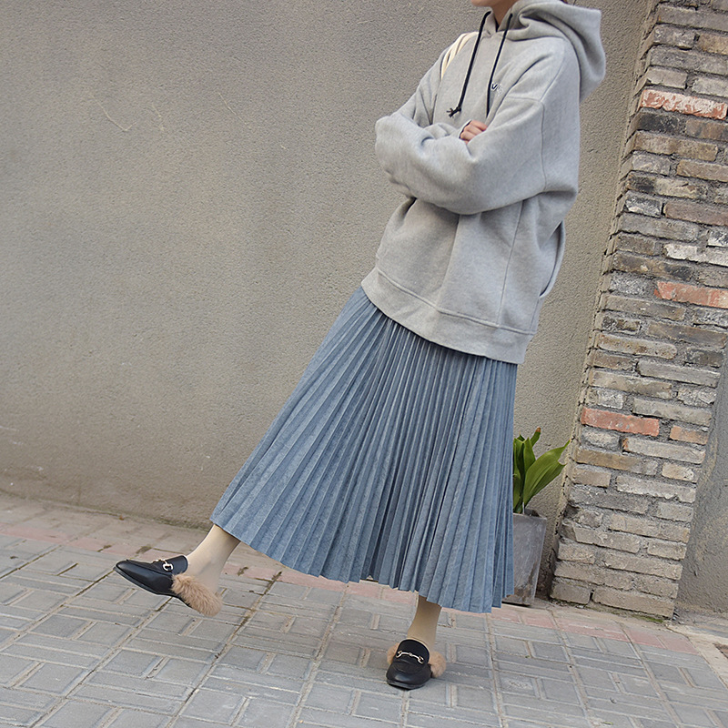 19 Two Layer Autumn Winter Women Suede Skirt Long Pleated Skirts Womens Saias Midi Faldas Vintage Women Midi Skirt 60
