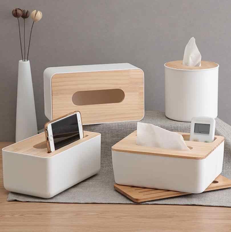 Wooden Cover Plastic Tissue Box Paper Home//Car Phone Holder Dispenser Organizer