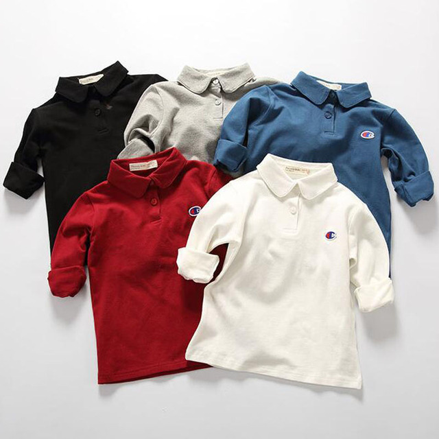 1a91ddff Ins Pattern Champion Polo Clothing Boys Girls Infantil Cloth Five Colors  Made Of Cotton Long Sleeve