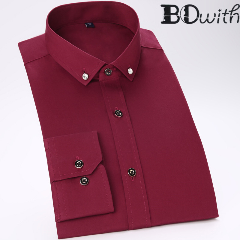 Wine Red Men Shirt 100% Cotton Long Sleeved Shirt Slim Fit Male Social Business Dress Work Shirt Men Business Shirts  Formal 4XL