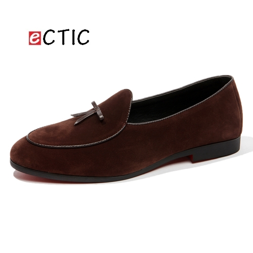 2018 New British Mens Leather Tassel Loafers Shoes Prom Suede Men Dress Shoes Dress Smoking Slippers Men's Flats Wedding Party new design men black velvet loafers prom dress shoes smoking slippers party and wedding shoes casual men s flats size 7 13