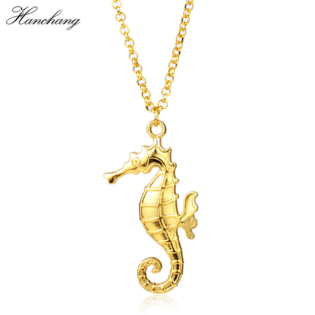 Hanchang jewelry hippocampus pendant necklace gold seahorse necklace hanchang jewelry hippocampus pendant necklace gold seahorse necklace animal metal for women girl charm long necklace aloadofball