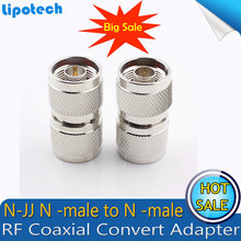 2pcs/lot N type Male plug to N-JJ RF Coax Adapter Straight Connector