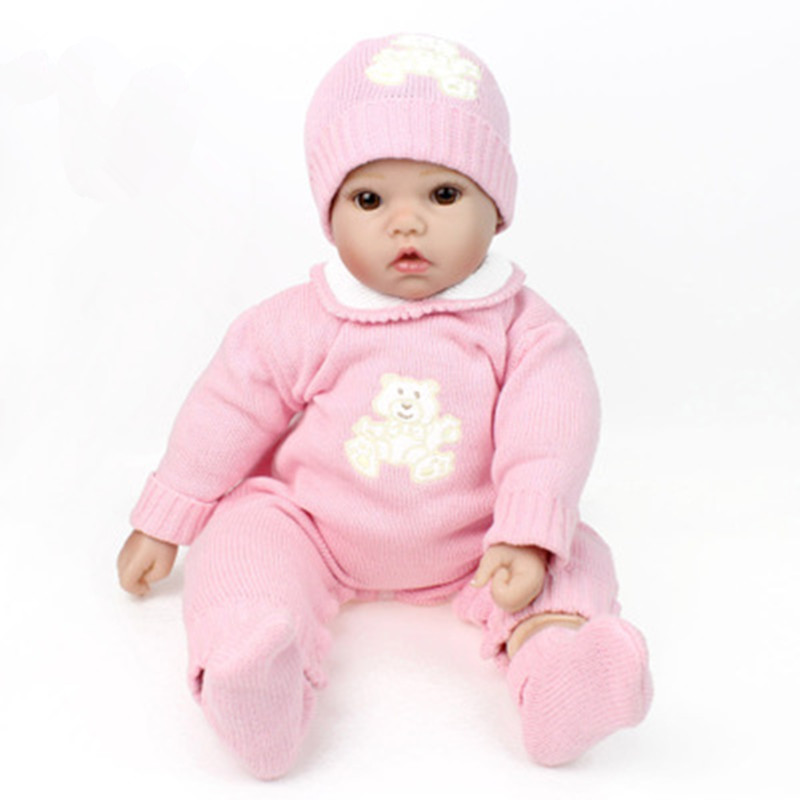 20 Inch 50cm Silicone Reborn Baby Dolls Alive Lifelike Brown Wig Real Dolls Realistic Reborn Babies Girl Toys Birthday Gift L615 22 inch soft silicone collectible newborn baby toys realistic reborn babies dolls lifelike baby alive children birthday gift