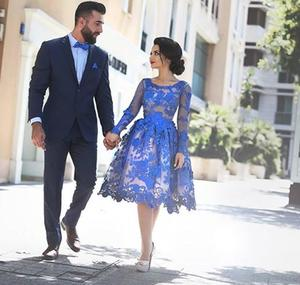 Image 4 - Royal Blue 2018 Elegant Cocktail Dresses A line Long Sleeves Appliques Lace Party Plus Size Homecoming Dresses