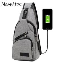 Men Casual Chest Shoulder Bag Famous Desinger Men Women Crossbody Bag with USB Port Sling Pocket Handbag Travel Messenger Bags