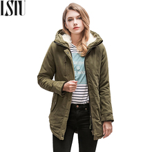 Lstu Hooded Plus Size Long Cotton Coat Slin Long Sleeve Parkas Mujer Invierno 2017 Casual Black Padded Winter Jacket Women(China)