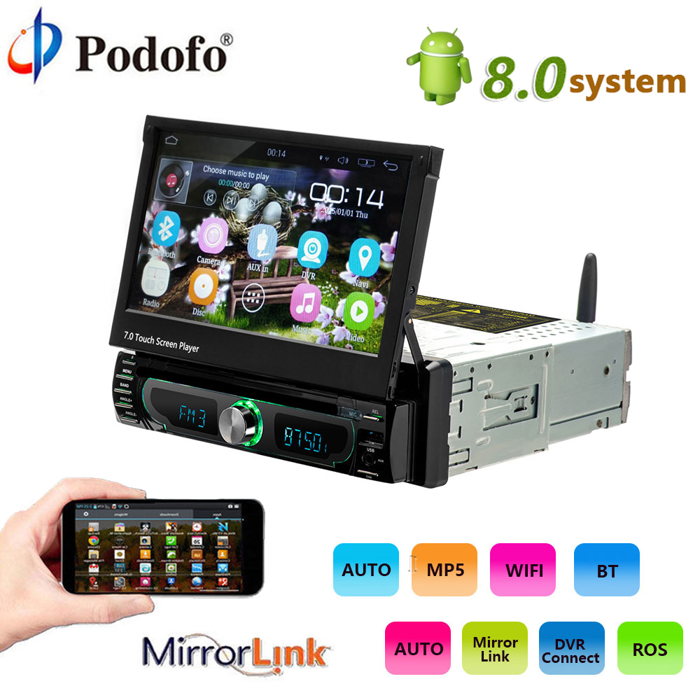 Podofo 10.1 1 din Android 8.0 Car Multimedia player wifi Car Radio Stereo GPS Navigation Universal Car CD/DVD Player FM AM USB kkmoon 2 din hd touch screen car stereo radio player gps navigation multimedia entertainment system wifi bt am fm android 5 1