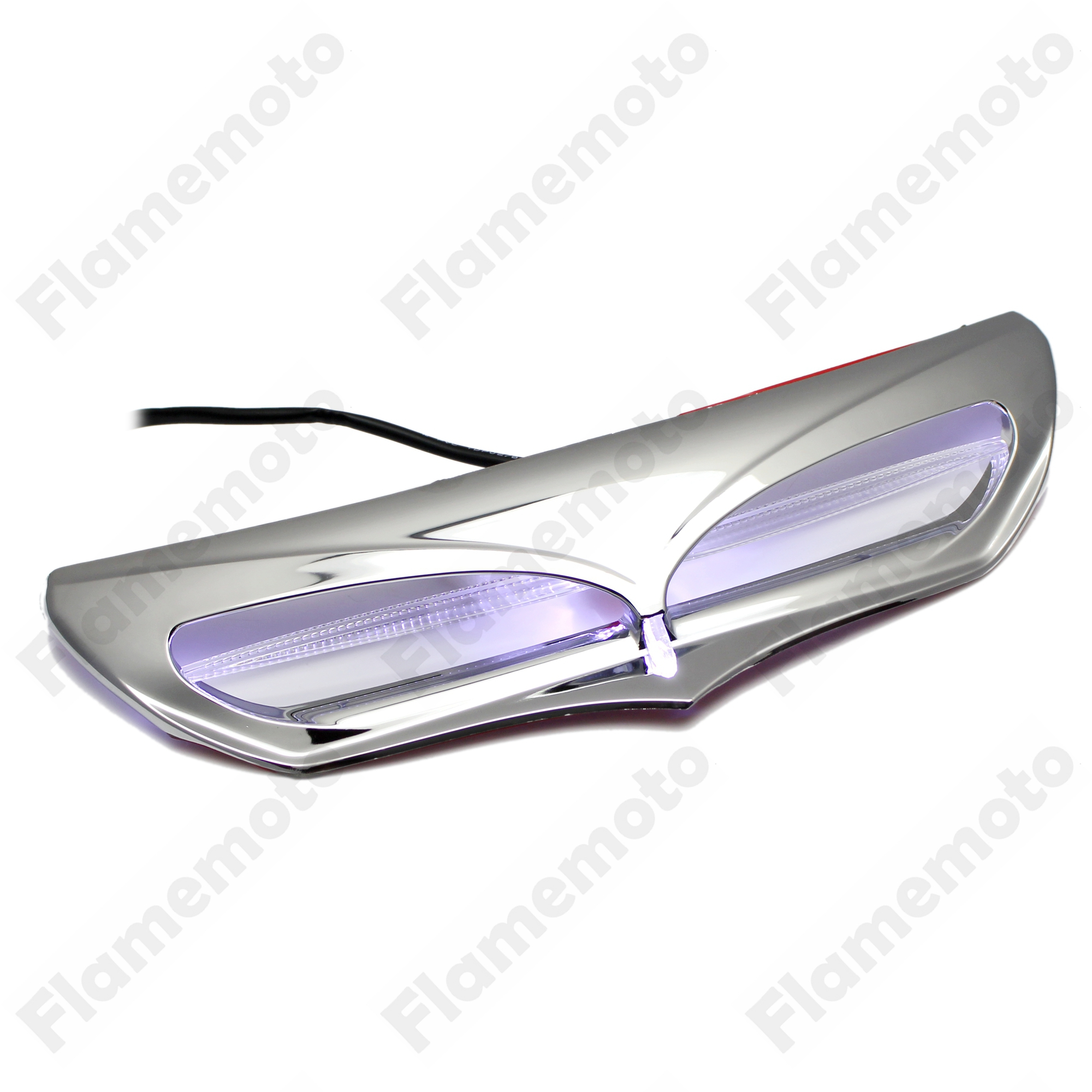Motorcycle Chrome Batwing Fairing Vent Trim with LED Accent Lights Cover For Harley Touring Road King Street Electra Glide
