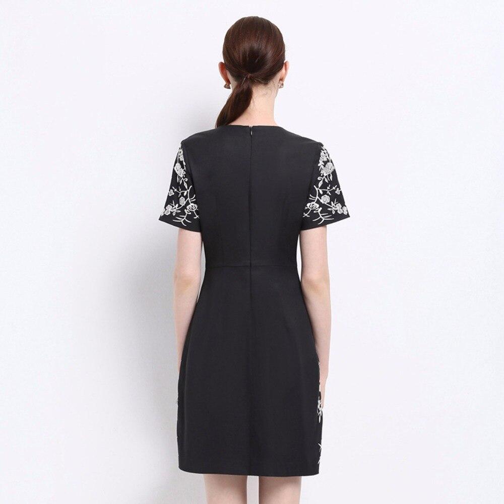 À Femmes femmes Robes Szmj17067 Taille Courtes Femme Hanche Brodé Vêtements Robe pour De Manches Robe Sac Noir Marque z5ZtRt