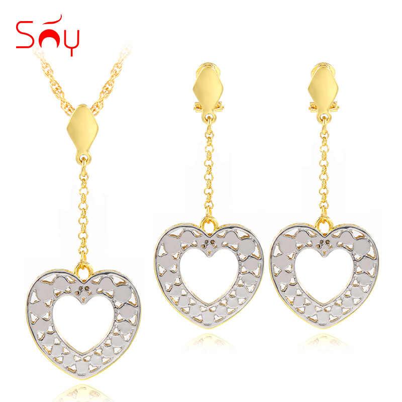 Bijoux ensoleillés bijoux romantiques pour femmes collier boucles d'oreilles pendentif coeur ensembles de bijoux pour fête mariage fiançailles cadeau d'anniversaire
