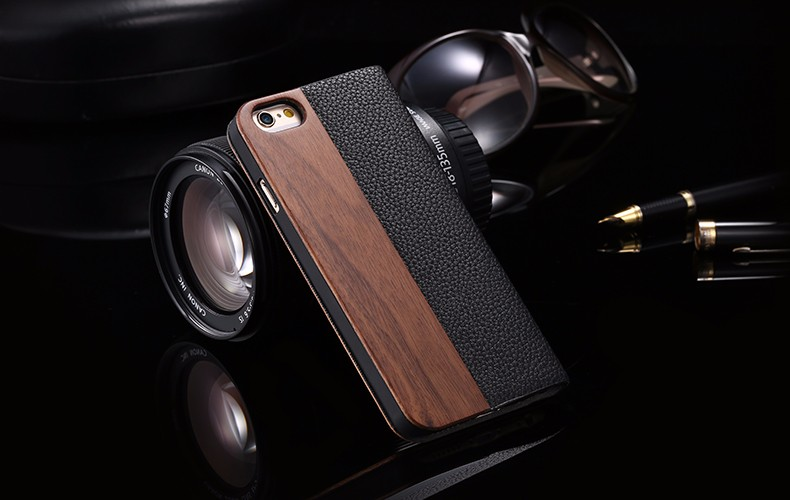 Vintage Genuine Bamboo Wood Flip Leathe Case For iPhone 6 6S Plus Real Rosewood Wooden Wallet Cover For iPhone 7 7 Plus Card Slot (12)