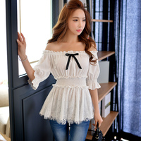 Original 2016 Brand Blusas Big Size Fashion Casual Open Shoulder Ruffled Hem White Sexy Blouses Women