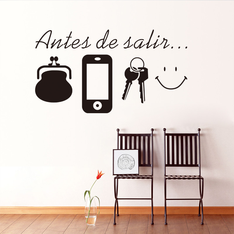 Spagnolo vinile Citazioni wall stickers casa Porta del soggiorno  decorazione della parete decalcomanie per Tutti I Giorni Prima di Lasciare  promemoria ...
