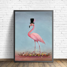 Romantic Pink Flamingo Love Wall Art Pictures Canvas Paintings Animal Whimsical Nordic Poster and Print Bedroom Home Decorations(China)