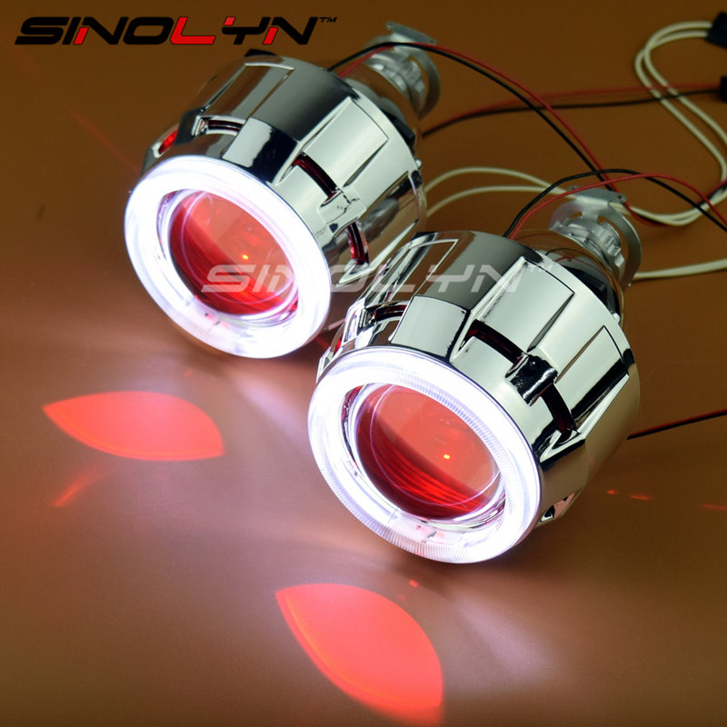 SINOLYN Car/Motorcycle Light 2.5'' HID Bixenon Projector Lens Headlight Angel Devil Demon Eyes Halo LED Xenon Headlamps H1 H4 H7 sinolyn upgrade 8 0 car led cob angel eyes halo bi xenon headlight lens projector drl devil demon eyes h1 h4 h7 kit retrofit diy