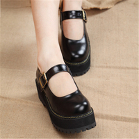 New 2018 Women Creepers Pu Women Flats Platform Mary Jane Ankle Strap Casual Ladies Loafers Shoes