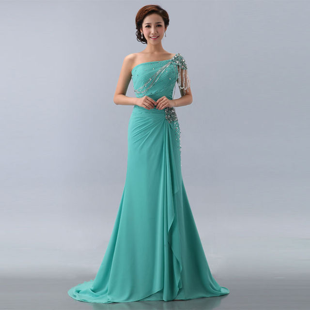 2013 new fashionable shoulder order bead long trailing dress wedding dress party dresses cocktail dress prom