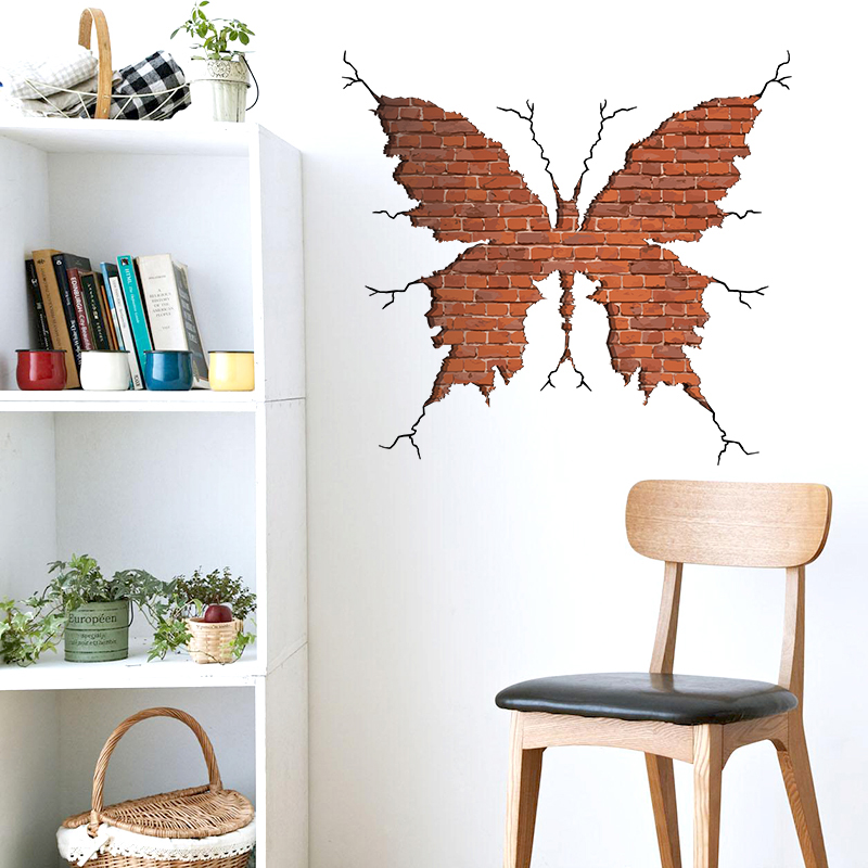 Free Shipping Removable kids bedroom 3d butterfly wall stickers home decor reuseable wall decals living room wallpaper