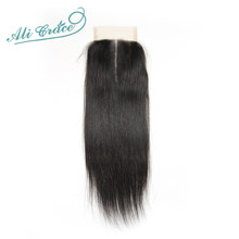 Ali Grace Brazilian Straight Closure Transparent Medium Brown Swiss Lace Closure 100% Hand Tied 4*4 Human Hair Closure(China)