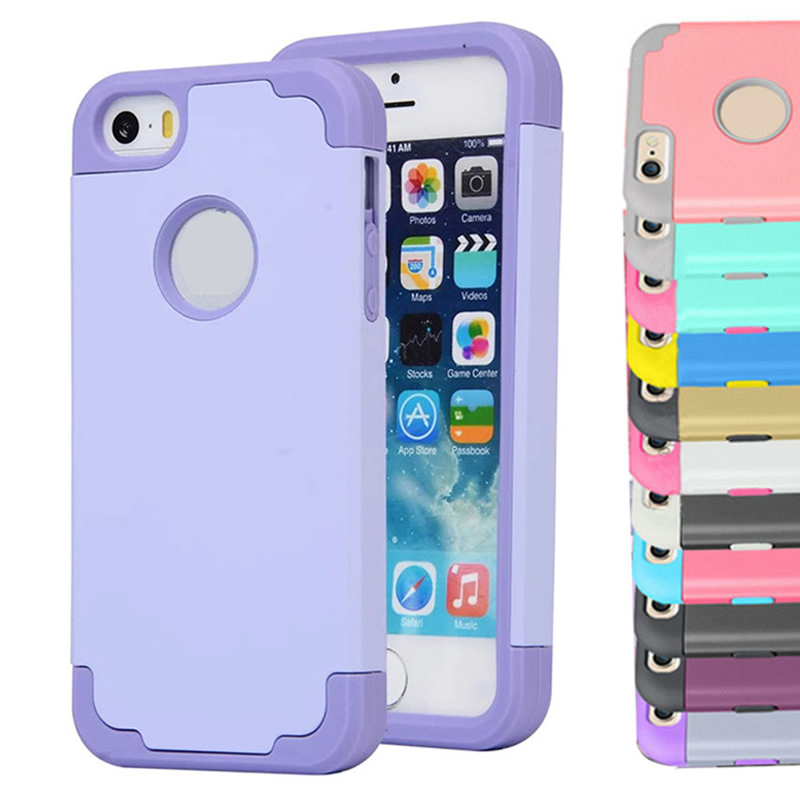 For iPhone 5 5s SE Glossy Surface Dual Layer Hybrid Cases For i5 5s SE 4.0 inch Protect From Top to Bottom Rubber PC Material