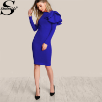 Sheinside One Side Tiered Ruffle Trim Winter Dress 2017 Round Neck Long Sleeve Zip Party Dress