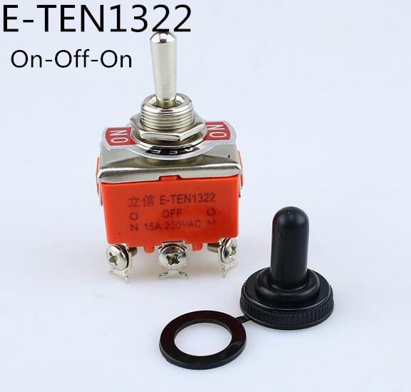 High Quality 1PCS E-TEN1322 15A/250V 6 Pin Waterproof Switch Cap On-Off-On Miniature Toggle Switches Orange