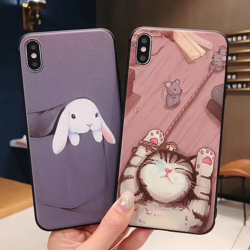 Wrist Strap Soft TPU Phone Case For Samsung Galaxy S10 Lite S10e S8 S9 Plus Note 8 9 Cases Cat Rabbit Bunny Ring Holder Cover in Fitted Cases from Cellphones Telecommunications
