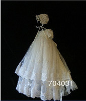 Luxury New Baby Infant Girls Christening Dress Lace Satin With Bonnet White/Ivory New Baptism Gown Custom