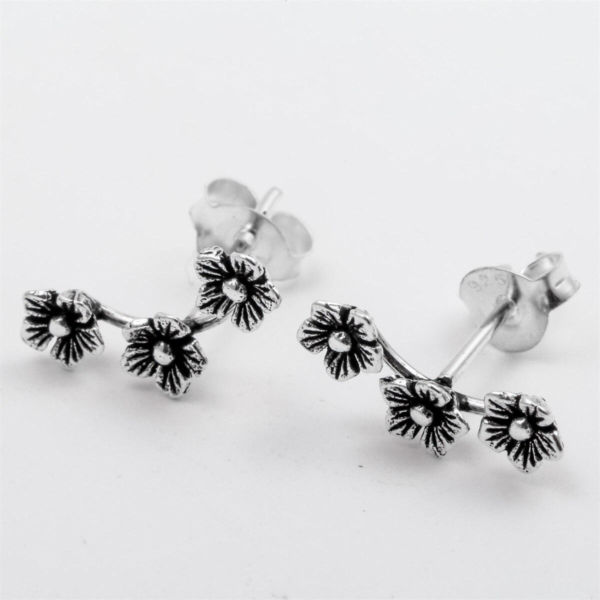 YACQ 925 Fleurs En Argent Stud Boucles D'oreilles CostumeFashion Bijoux D'anniversaire Cadeaux pour Femmes Filles Sa Mère Dropshipping YCE135 - 3