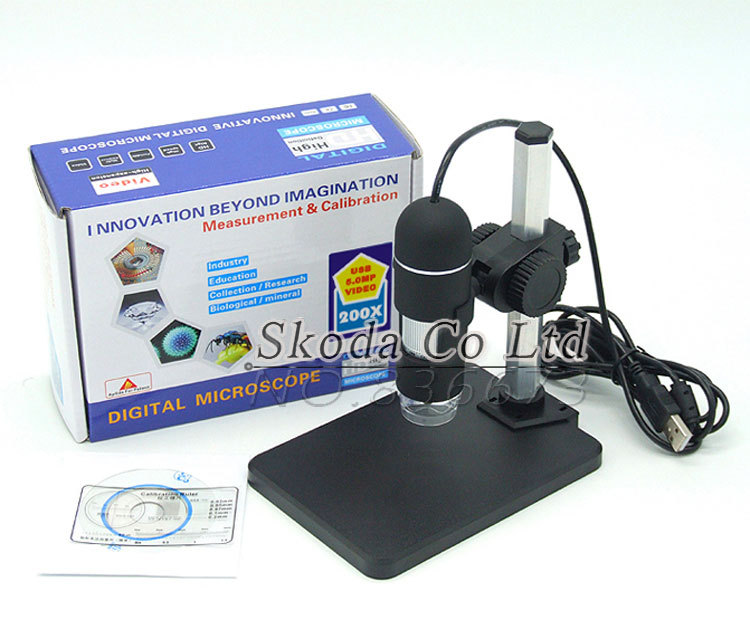 цены Digital USB Microscope 2MP 200X 8 LED lightPortable Microscope Magnifier with a microscope stand