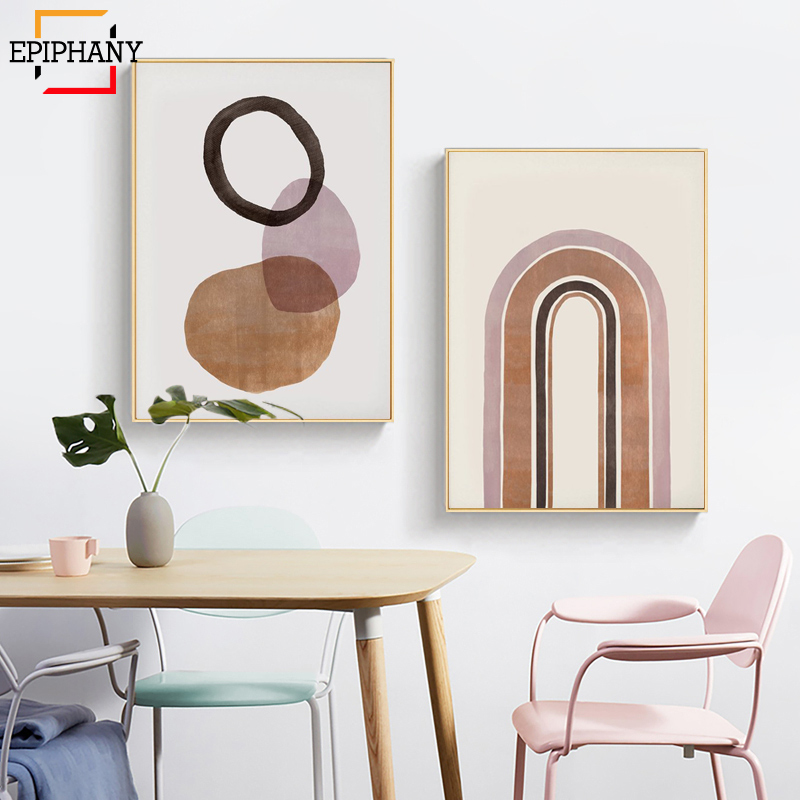 US $3.5 |Burnt Orange Abstract Print Modern Boho Wall Art Minimalist Canvas  Paintings Nordic Painting Pictures for Living Room Decoration-in Painting  ...