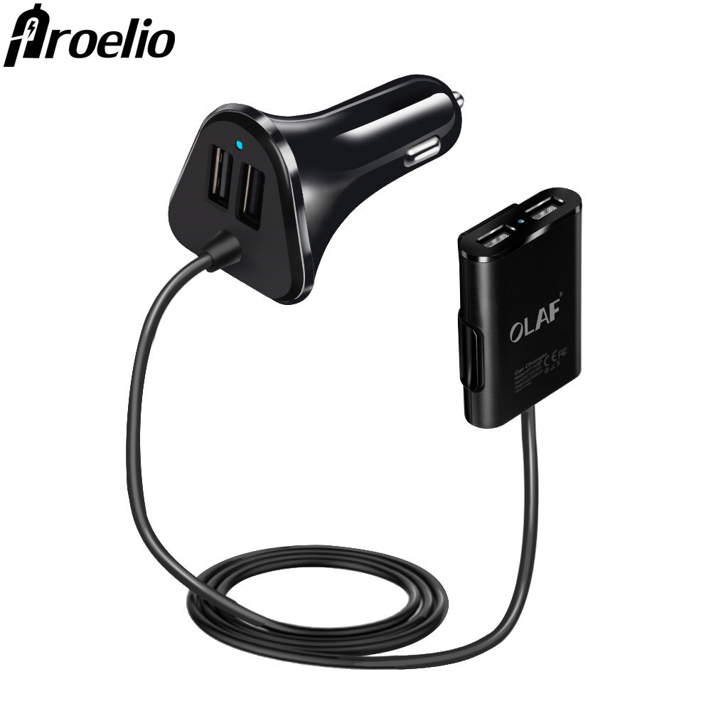 Proelio Car Charger Universal 4 Ports 48W Fast USB Car Charger Adapter For iphone X 8 Samsung Mobile Phones Tablet Lighter Slot
