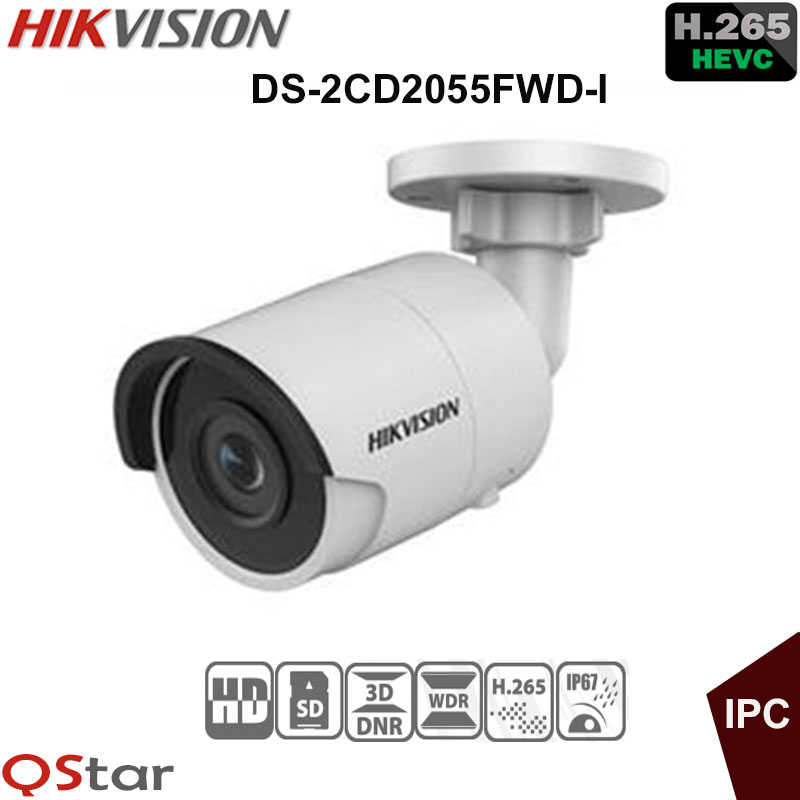 Hikvision H.265 5MP IP security Camera DS-2CD2055FWD-I 5MP Mini Bullet outdoor IP Camera H.265 IP67 replace DS-2CD2052-I in stock hikvision english security camera ds 2cd2052 i 5mp cctv camera p2p ip outdoor camera poe mini bullet camera ip66