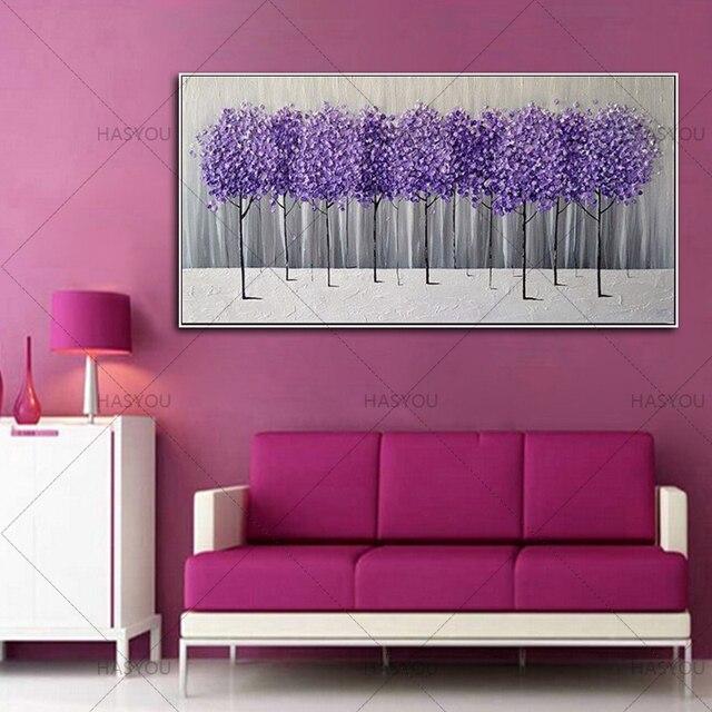 TOP 100% Hand Painted Purple Flower Tree Oil Painting Modern Art ...