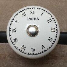 38 мм Старинные Часы Печати Керамические Ручки Круглый Кабинет Ящика Потяните Ручку Шкафа ручки Для Мебели декоративное Оборудование