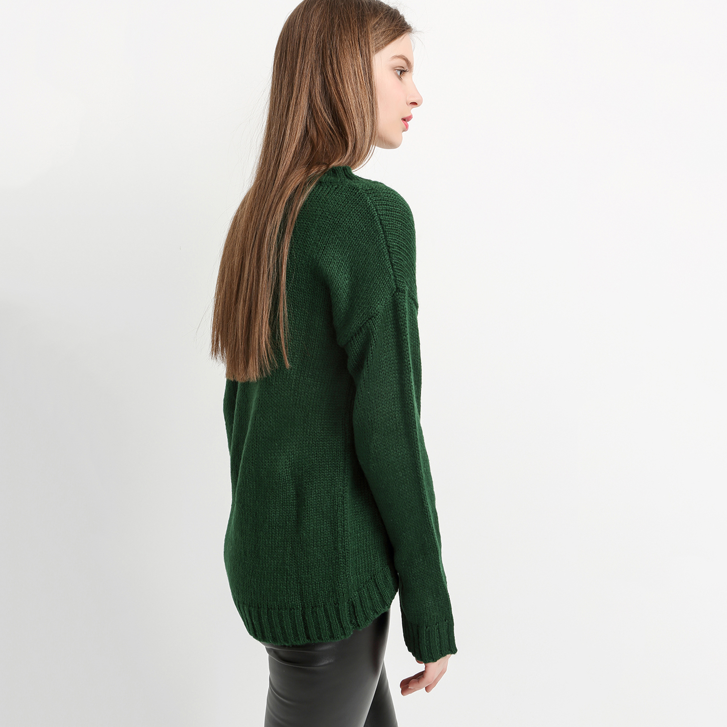 My Mayaasos Office Lady New Autumn Solid Green Sweater Fashion Women Pullover Loose Casual Crew Neck Knitwear In Pul From S Clothing