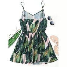 AZULINA Sexy Beach Dress Women Mini Summer Dress Leaf Print Sleeveless V Neck Spaghetti Strap Elastic Waist Dress 2017 Sundress