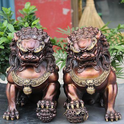 A Pair Medicine old 12 Chinese Bronze Gilt Guardian Foo Fu Dog Hold Ball Door Lion Kid Statue 2pcs Garden Decoration Bronze
