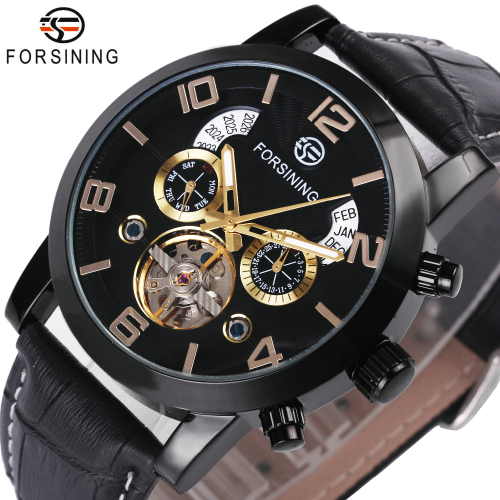 FORSINING Wrist Watch Men 2018 Top Brand Luxury Male Famous Clock Automatic Mechanical Watches Calendar Date Tourbillon + BOX forsining tourbillon designer month day date display men watch luxury brand automatic men big face watches gold watch men clock