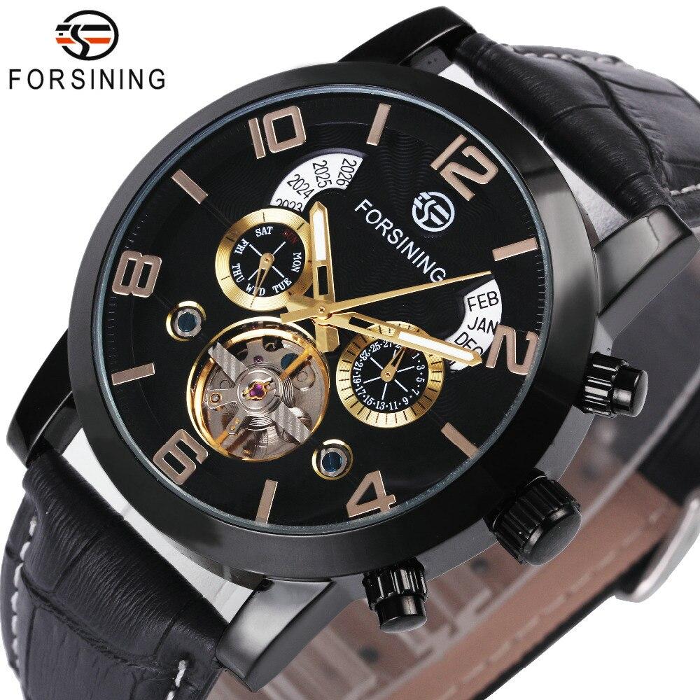 FORSINING Wrist Watch Men 2018 Top Brand Luxury Male Famous Clock Automatic Mechanical Watches Calendar Date Tourbillon + BOX