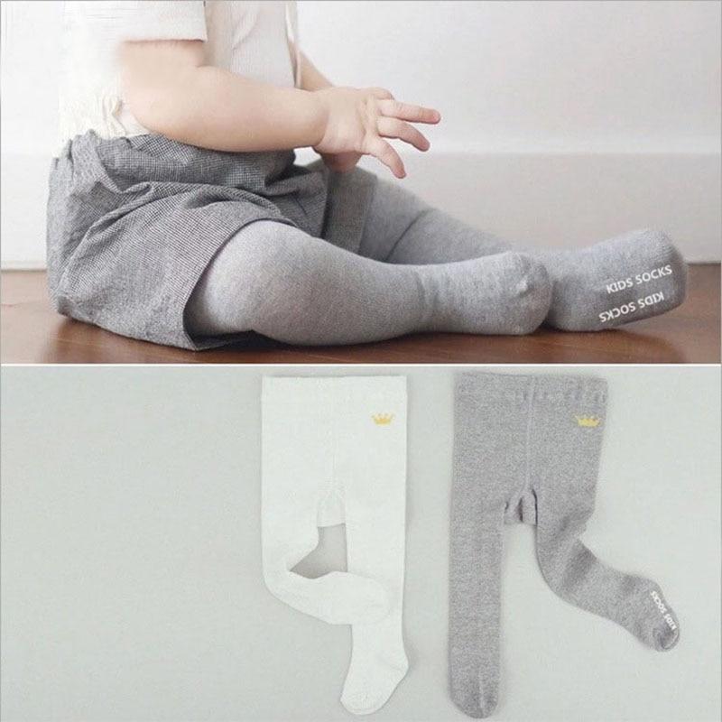 eb1cc294d1e4c Grey white crown pure cotton baby plain pantyhose anti slip baby socks baby  leg warmers kid