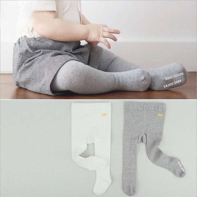 b52b7e53c83452 Grey white crown pure cotton baby plain pantyhose anti slip baby socks baby  leg warmers kid baby boy girl meias para bebe