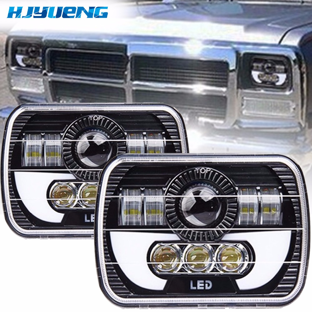 7inch pair 5x7 Auto DRL Led headlamp 5x7 Inch led truck headlight 7inch high low beam Square led headlight For Jeep Cherokee XJ