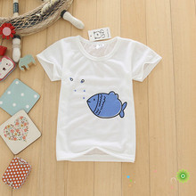 Cute baby boys kids tops clothing 1-4Y 2016 summer new children's casual bottoming shirt simple fish short-sleeved t-shirt boys