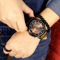 Grande Mostrador do Relógio Ocasional Homens Marca De Luxo Analógico Esporte Militar Relógios de Quartzo de Couro Relogio masculino Reloj Hombre AB1057