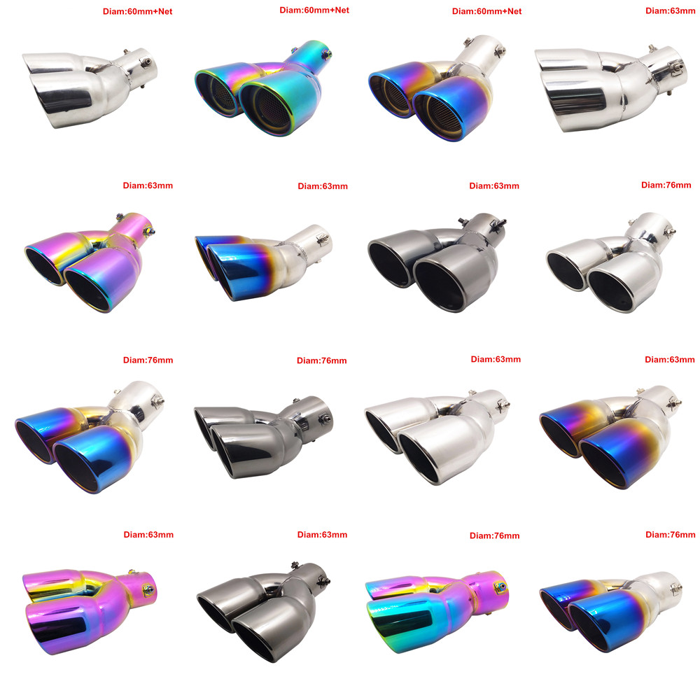 Exhause Pipes Stainless Steel Modified Car Rear Tail Throat Exhaust Tips Systems Mufflers for Audi A4L Turning Car Universal universal exhaust car high power 304 stainless steel silencer car exhaust tips with car styling exhaust pipes 2 5 in