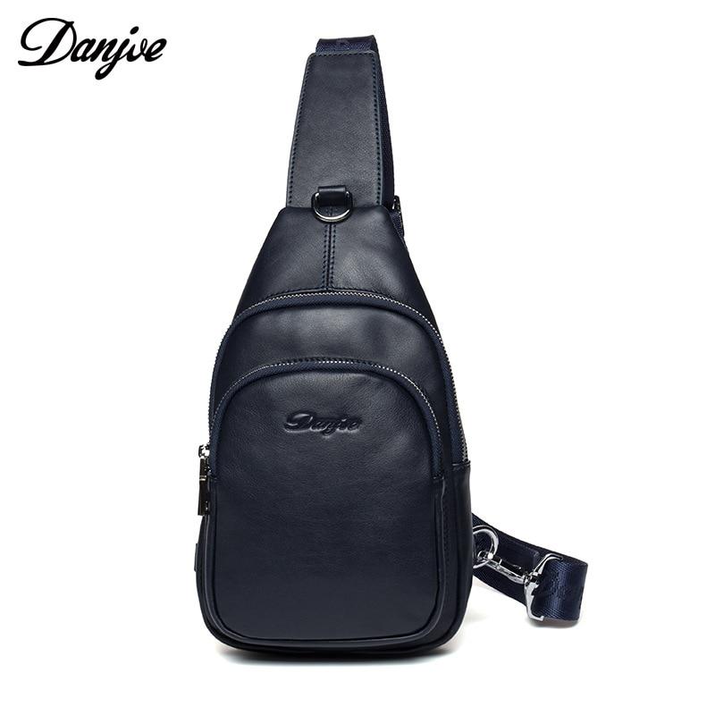 DANJUE Chest Bag Male Brand Men Bag Genuine Leather Messenger Bag Man Fashion Daily Chest Pack Male Soft Leather Crossbody Bag