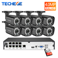 Techege H.265 8Ch 4MP POE NVR CCTV Camera System 4MP POE IP Camera 2560*1440 Outdoor Waterproof Video Security Surveillance Kit