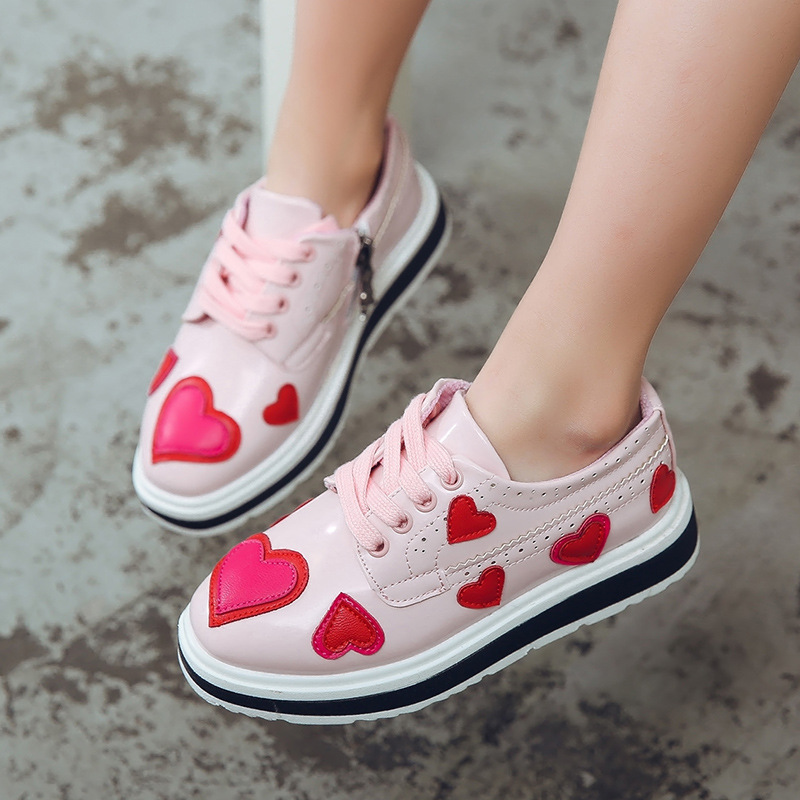 Children'S Shoes Spring/Autumn Girls Fashion Sneakers Shoes Kids Girls Princess Shoes With Love Single Causal Shoes